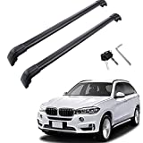 MotorFansClub Roof Racks Crossbars Fit for Compatible with BMW X5 F15 2014 2015 2016 2017 2018 Lockable Baggage Luggage Racks Roof Rail Cross Bar (2 PCS)