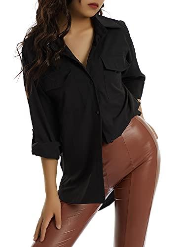 Siyova Camisa de mujer elegante de manga larga informal con solapa y cuello en V para mujer, con botones en la parte superior, para oficina, de raso de color liso, Negro , M