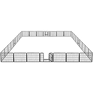 YAHEETECH 32 Panels 24-inch Dog Pens- Heavy Duty Metal Foldable Pets Dog Exercise Pen Playpen Barrier Kennel with Door for Cat Duck Chicken Puppy Fence Outdoor Indoor Black