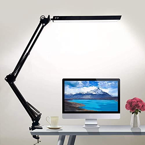 GUUKIN LED Schreibtischlampe mit Klemme, 3 Farbtemperaturen 10 Helligkeiten Dimmbar Architektenlampe mit Schwenkarm, Bürotischlampe Augenschutz für Büro, Lesen, Arbeiten, Lernen