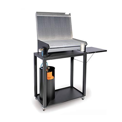Barbecue per esterno in acciaio con pietra lavica cm 70 x 40, BEL-FER modello 1219BBQC/70, funziona a gas GPL
