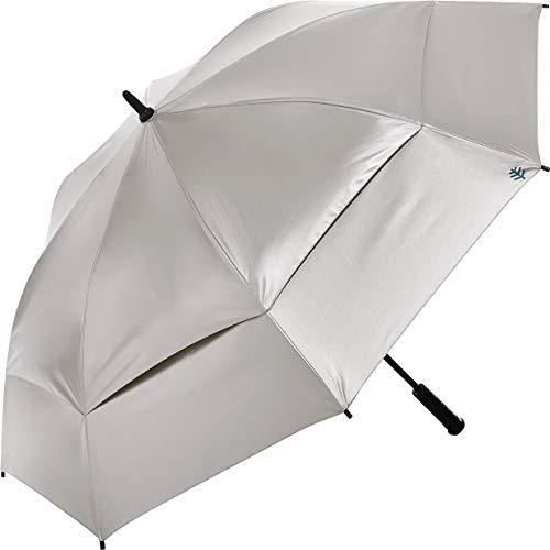 Coolibar UPF 50+ 62 Inch Tournament Golf Umbrella - Sun Protective (One Size- Silver/Green)