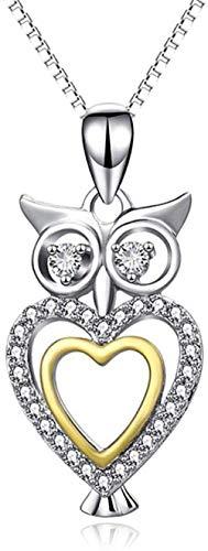 OlovdHit Collar Collar De Cadena para Mujer Búho De Plata Esterlina 925 con Diamantes Colgante, Joyería, Regalo De Circonio para Mujer