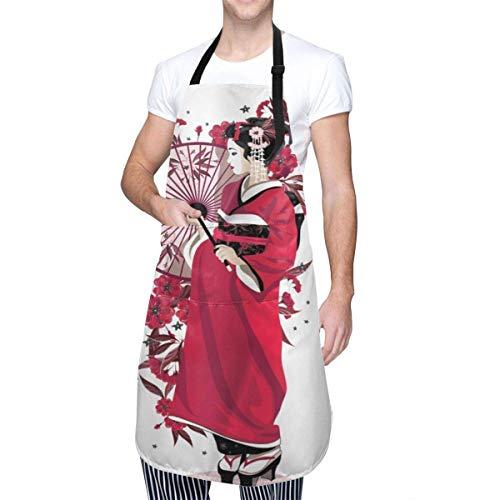 Hangdachang Delantal Kimono para niña asiática con Flores Diseño de Tela Femenina nativa Cultural Impermeable Delantal Ajustable con Bolsillos Delantales de Mujeres Hombres