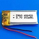 401430 3.7V 160mAh Polímero de Litio Recargable de batería LIPO para MP3 MP4 GPS Bluetooth Auriculares Videocámara Pen 4x14x30mm-1 PC