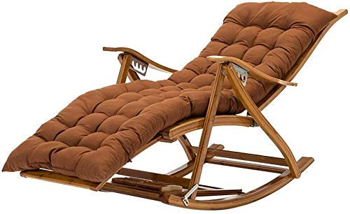 Portable Ancnan Reclining Chair Foldable Lounge Chair Adjustable Backrest with Telescopic Footrest Bamboo Lounge Chair (Color : Brown)