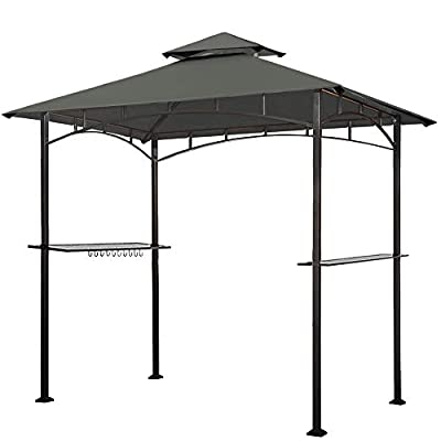 Eurmax 5x8 Grill Gazebo Shelter for Patio and Outdoor Backyard BBQ's, Double Tier Soft Top Canopy and Steel Frame with Bar Counters, Bonus LED Light X2 (Gray)
