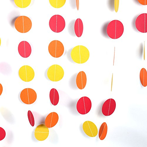 Papieren slinger, 4 m kleurrijke ronde hangende tissue-papier-cirkels-bloemenslinger koord-ketting hoofdbruiloft feestdag verjaardag feestdag feest party hangende decoratie nieuw Round Yellow Orange Red