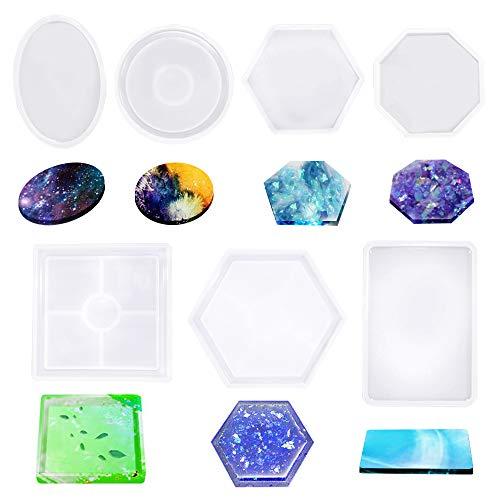 7 moldes de silicona de resina Senhai DIY con cristal epoxi posavasos de silicona que para fundir con resina, cemento, hormigón