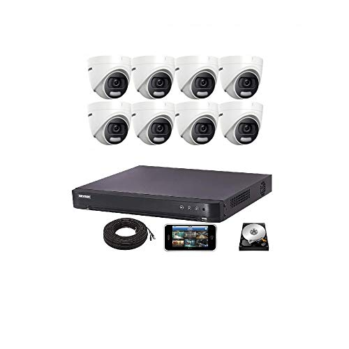 4 K Hikvision CCTV System DVR 5MP 8CH Cámara domo 20M IR 2.8mm lente fija IP67 - DS-2CE72HFT-F28 (8 cámaras, 3TB)