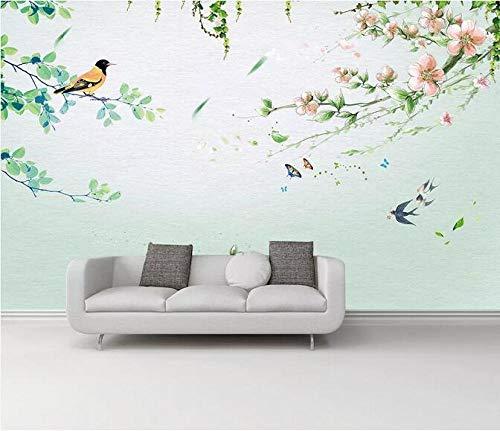 Nuevo estilo chino pequeño pájaro fresco idioma floral fondo pared MM 300cmx210cm Mural foto papel pintado pegatinas