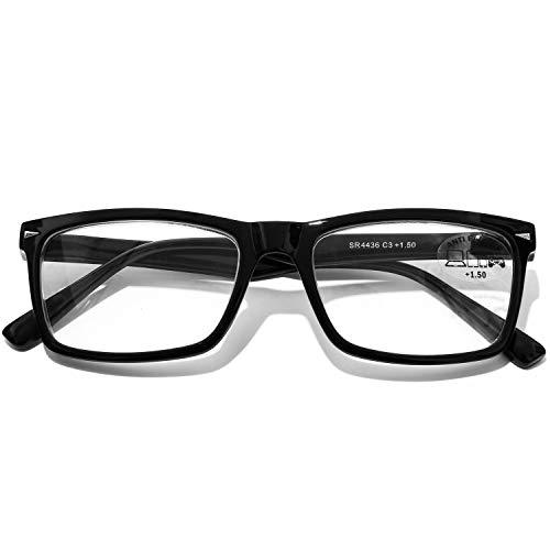 DOOVIC Blaulichtfilter Computer Lesebrille 2,5 - Schwarze/Rechteckig Rahmen Federscharnier Brille mit Stärke für Herren/Damen