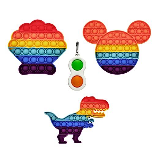 GreenBee Jouet anti-stress sensoriel en forme de bulles pour soulager le stress et l'anxiété des enfants et des adultes Avec porte-clés Fidget Pop en cadeau (Lot de 3)