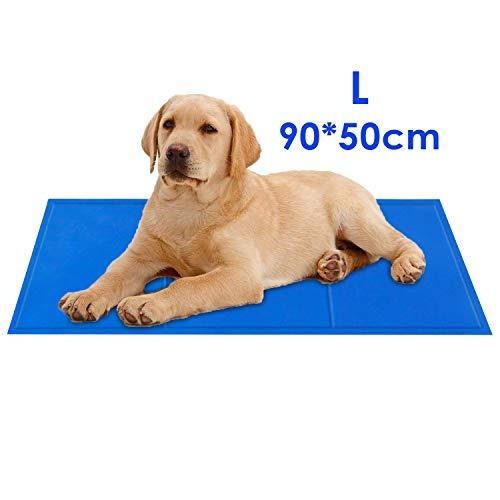pedy Koelmat, honden, katten, zelfkoelende mat, zelfkoelend, gelmat, koelkussen, koel, hondendeken, koudgelpad, coolingmat voor hondenboxen, zwinger bedden, verdikt, waterdicht, scheurvast, blauw, M, L, XL, 90*50cm, blauw
