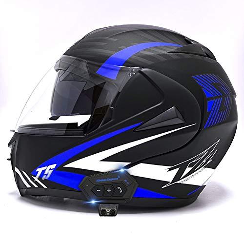 AI FAN Bluetooth Casco de Moto Modular,ECE Homologado Adultos Casco Flip Up Modular Casco Moto Integral,para Ciclomotor Motocicleta y Scooter Mujer y Hombre con Doble Visera