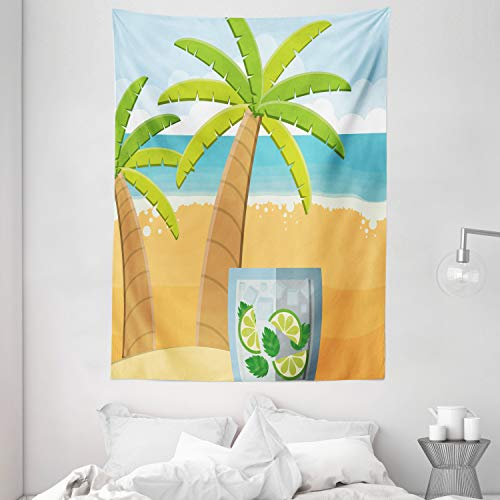 Lunarable Palms Tapestry, Summer Concept Graphic Beach Fresh Lemonade Lime and Ice Cubes Scenery, Wall Hanging for Bedroom Living Room Dorm Decor, 60' X 80', Green Blue and Sand Brown