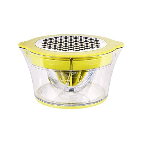 HYTX 4 in 1 Manual Juicer/Squeezer, Egg Separator, Ginger/Garlic Grater Manual Hand Squeezer with Built-in Measuring Cup and Grater, 12OZ, Green