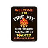 Honey Dew Gifts Funny Camping Signs, Welcome to Our Fire Pit Where Friends and Marshmallows Get Toasted, 9 x 12 inch Camper Decor