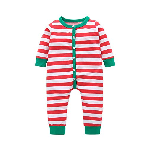 Toddler Baby Girls Boys Christmas Romper Jumpsuit Striped Long Sleeve Xmas Pajamas Homewear Red 12-18 Months