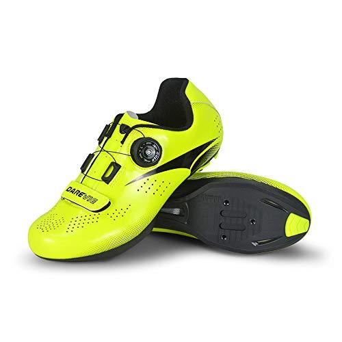 JINFAN Calzado De Ciclismo para Hombre,Calzado para Bicicleta De Carretera Calzado De Ciclismo Profesional Calzado De Carretera,Green-9.5UK=44EU=10.5US
