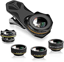 Waoops Phone Camera Lens iPhone Lens Kit 6 in 1, 25X Telephoto Lens, 235° Fisheye Lens, 0.62X Wide Angle Lens, 25X Macro Lens, CPL Lens, Star Filter Lens with Tripod for iPhone Samsung Huawei (5 in 1)
