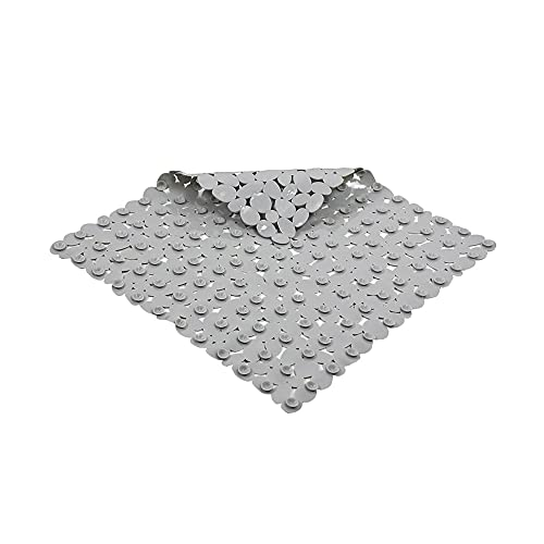 Prasacco Alfombrilla cuadrada para baño, 21 x 21 pulgadas, antideslizante, para bañera con agujeros de drenaje y ventosas, lavable a máquina