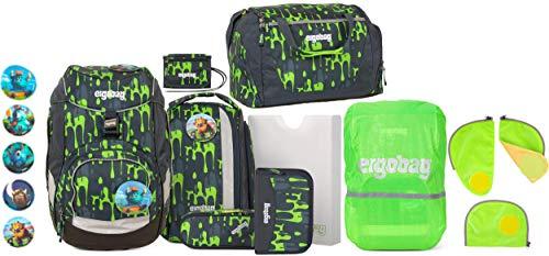 ergobag Pack GlibbBär Schulrucksack-Set 6tlg. + Sporttasche + Brustbeutel + Sicherheitsset & Regencape Grün