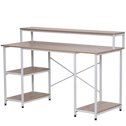 HOMCOM 55 Inch Home Office Computer Desk Study Writing Workstation with Storage Shelves, Elevated Monitor Shelf, CPU Stand, Durable X-Shaped Construction, Oak Wood Grain