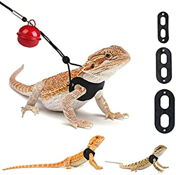 3 Packs Bearded Dragon Harness and Leash Adjustable S,M,L  - Soft Leather Reptile Lizard Leash for Amphibians and Other Small Pet Animals