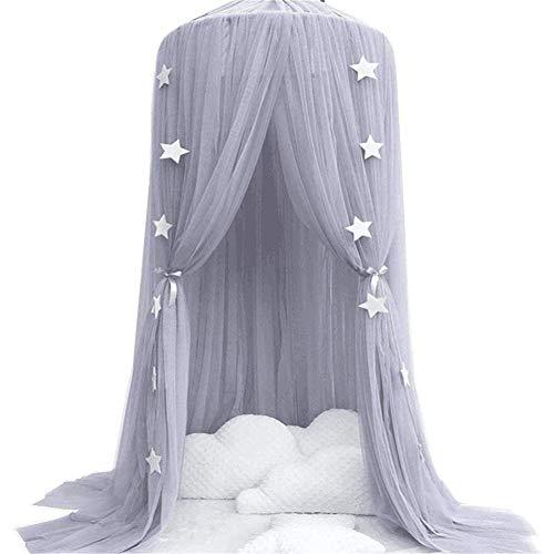 Namgiy Baby Baldachin Betthimmel, Prinzessin Moskitonetz mit 4m Goldene Papierstern Dekoration für Kinderzimmer Spielzelte Rosa Höhe: 240cm (Grau)