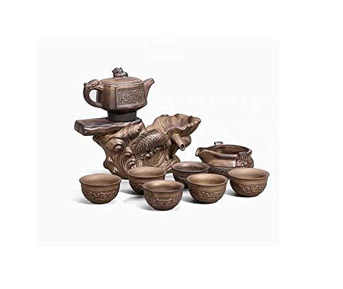 khfdd Tea Set Home Office Retro Ceramic Teapot Cup Semi-automatic Kungfu Creative Tea Maker