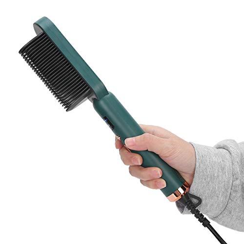 Peine para alisar el cabello, peine eléctrico caliente con 3 engranajes calentado, cepillo eléctrico caliente y rizador caliente para mujeres, herramientas portátiles para el cabello(Verde)