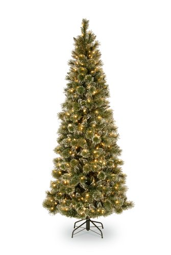National Tree 7.5 Foot Glittery Bristle Pine Slim Tree with 600 Soft White LED Lights, Hinged (GB3-319-75)