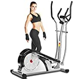 ANCHEER Elliptical Machine for Home Use, Magnetic Training Machine with Pulse Rate Grips and LCD Monitor, Smooth Quiet Driven for Home Gym Office Workout Max Capacity Weight 350LBS