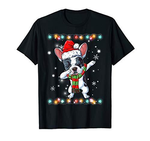 Dabbing French Bulldog Santa T Shirt Christmas Kids Gifts