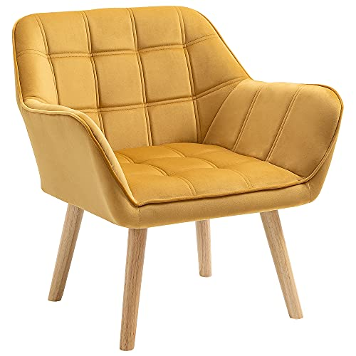 HOMCOM Armchair Accent Chair Wide Arms Slanted Back Padding Iron Frame Wooden Legs Home Bedroom Furniture Seating Yellow