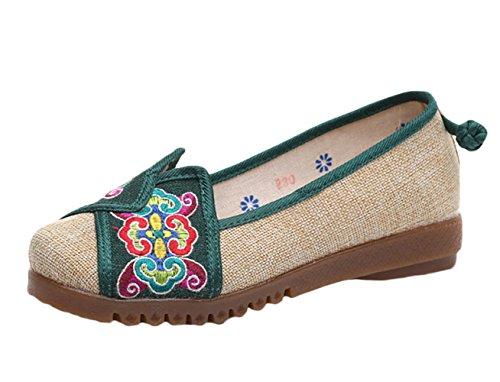 Icegrey Ballerina's handgemaakte geborduurde bloemen platte schoenen