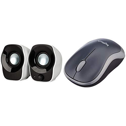 Logitech Z120 Notebook-Lautsprecher 2.0 (mit 3,5 mm USB-Stromversorgung) schwarz/silver & M185 schnurlos Maus (USB, kompatible mit Windows, Mac, Linux) grau