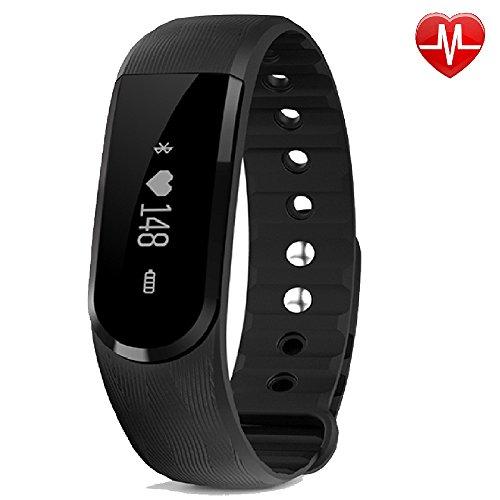 Yamay®, HR2, braccialetto smart con monitoraggio dell'attività sportiva, cardiofrequenzimetro, contapassi, monitoraggio del sonno, Bluetooth, chiamate, SMS, WhatsApp, Push, compatibile con smartphone iPhone e Android
