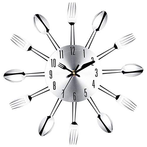 YYZZwall Clock,Stainless Steel Knife and Fork Spoon Kitchen Restaurant Wall Clock Home DecorationWall Clocks