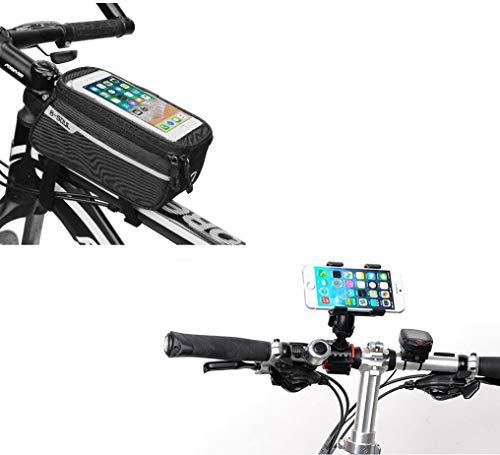 Set da Bicicletta per ASUS Zenfone Max PRO (M2) Smartphone (Supporto per Manubrio + Tasca tattile) MTB Ciclismo (Nero)