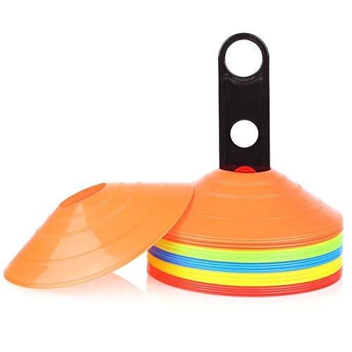 Femor 50 Conos de Disco para Entrenamiento, Conos de Disco de Fútbol, para Deporte de Soccer Ball y Marcado de Canchas (Naranja Amarillo Rojo Azul Verde)