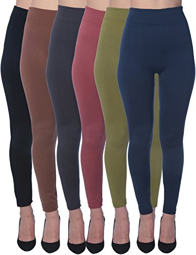 Active Club Women's Fleece Lined Leggings - Seamless High Waisted soft Brushed,2X/3X,Black/Navy/Dk Grey/Olive/Rose/Brown