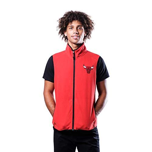 Ultra Game NBA Chicago Bulls Mens Basic Full Zip Vest, Team Color, Medium