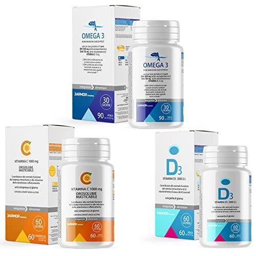 Jarmor 3 integratori Omega 3 + Vitamina C Orosolubile Masticabile + Vitamina D3 2000 ui family pack