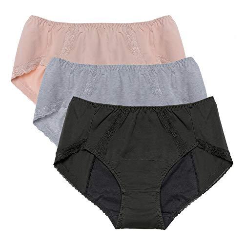 Neione Periodenunterhosen Auslaufsichere Menstruationsunterwäsche Baumwollslips Damen Frauen Teenager 3er-Pack Grau Beige Schwarz S