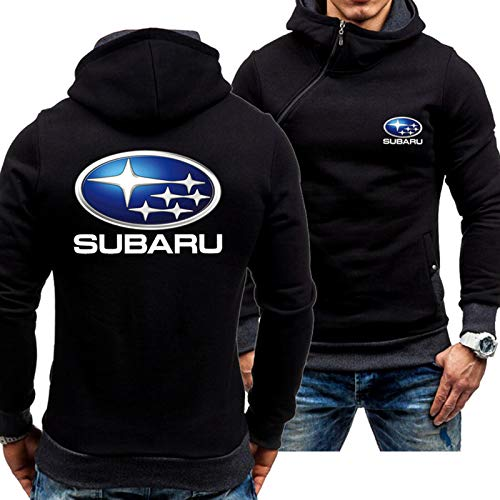 Sudaderas con Capucha De Primavera: Subaru Print Baseball Jersey Casual Sportswear Stitching Manga Larga Pullover Coat - Adolescentes Regalo Black-X-Large