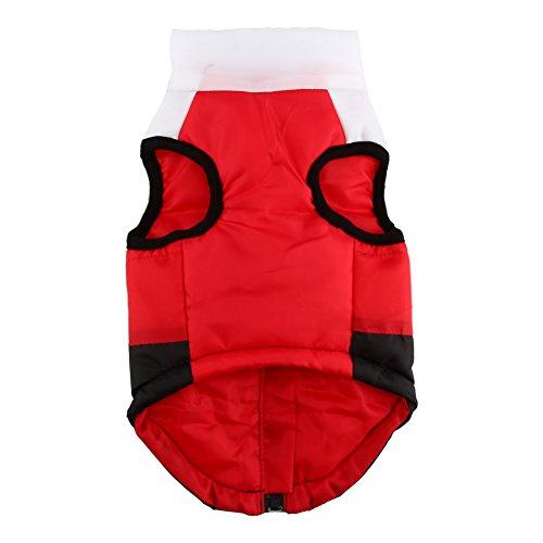 Abrigo para Perros, Rojo Cómodo Chaleco Acolchado cálido Chaqueta para Perros de Invierno Suéter Acolchado Grueso para Perros pequeños Ropa para Mascotas para Perros Cachorro de Gato