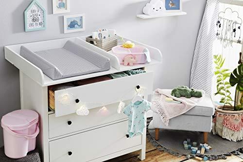 Rotho Babydesign Matelas à Langer à Langer à 2 Rebords, Modern Square, À partir de 0 mois, 70x50x9,8cm, Argent, 204440168CH