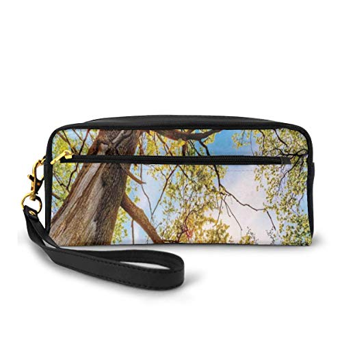 Pencil Case Pen Bag Pouch Stationary,Vibrant Summer Lights Above Oaks Rural Angle Freshness Sky Panorama Art,Small Makeup Bag Coin Purse